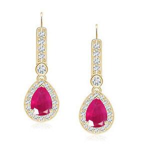 14KT Gold / 3.25 Carat AA Natural Burmese Red Ruby & IGI Certified Diamond Studs