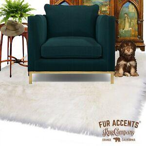 Hunter Green Shag Faux Fur Area Rug Rectangle Sheepskin Carpet Bonded Suede Back