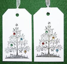 12 Handmade Luxury Bejewelled Christmas Tree with Gems Gift Tags⭐️