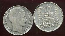 FRANCE  10  francs  1930  TURIN  SILVER   ( etat )