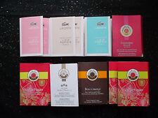 Lot de 10 échantillons de parfum et soin femme Lacoste Roger et Gallet
