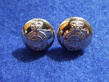 A PAIR, ROYAL ARMY SERVICE CORPS 14MM GOLD MILITARY CAP BUTTONS, 2 ITEMS