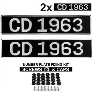 Pair 2x OBLONG Black and Silver Pressed Number plates Car Metal Classic Old Font