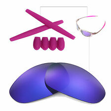 Walleva Purple PL Polarized lenses w Ear socks T-shocks for Oakley Juliet