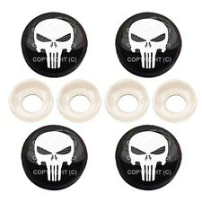 4 Black License Plate Frame Tag Screw Snap Cap Covers - PUNISHER SKULL BC060