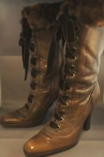 "Sebastian MILANO Brown Leather Side Zip MINK Cuff 4"" Heel Boots SZ 36.5 US 6"