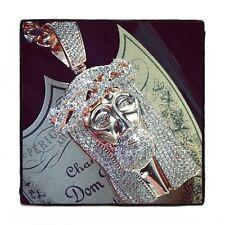 Mens Diamond Jesus Piece Round Cut G Color 14k Rose Gold 4.20ct