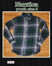 Size 8 Nautica Boys Button Up green Plaid Dress Shirt