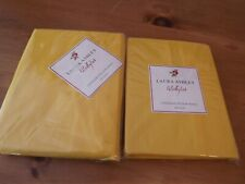 2 NEW Laura Ashley PILLOW SHAMS standard sz BRIGHT YELLOW NIP RET50