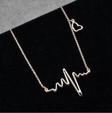 Lady Electrocardiogram Pendant Heartbeat Heart Rhythm ECG EKG Simple Necklace