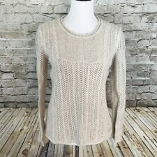 J Jill Beige Long Sleeve Crochet Knit Long Sleeve Sweater Womens Medium