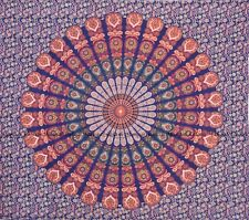 Peacock mandala wall hanging indian tapestry bohemian queen size bedspread decor