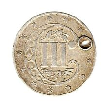 More details for km# 88 - 3 cents - silver (.900) - usa - 1860 'holed'