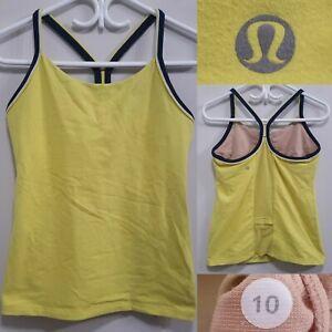 Lululemon Yellow Black Stripe Tank Top Size 10 Large Yoga Racerback Shirt