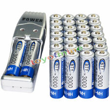 30x AA battery batteries Bulk Rechargeable NI-MH 3000mAh 1.2V BTY + USB Charger