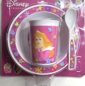 Vintage Disney Princessbowl Cup And Spoon 3 Piece Set Childrens Tableware