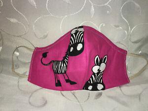 Maske Behelfsmaske Mund und Nasen Gesichtsmaske Zebra pink