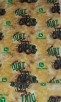1.38Yd HTF John Deere Make Dirt Look Good Anti Pill Fleece Fabric-Spring Ind