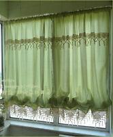 Adjustable Balloon Shade Crochet Hook Lace Curtain Scalloped Window Curtain