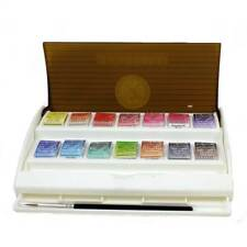 artists watercolour paint Half Pans & Brush Set Travel Sennelier paint box