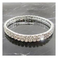 2 ROW -  Bling Bracelet Wedding Bridal Silver Prom Formal Crystal Diamante J329