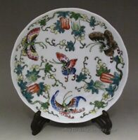 Beautiful Chinese Antique Famille Rose Butterfly Porcelain Plate