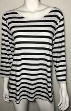 New! SUSSAN black stripe boatneck jersey top ~ sz XXL