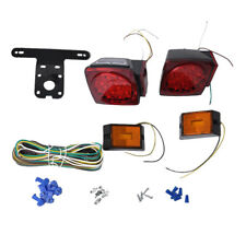 2 Pair 12V Square Trailer Tail Red LED Light and Amber Turn Signal Lamp Kit