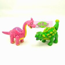 Downtown Disney T-Rex Cafe Figure Toy Set Pair Restaurant Pink Green