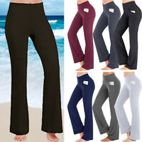 Womens High Waiste Yoga Pants Flare Leg Wide Bootcut Gym Sport Stretchy Leggings