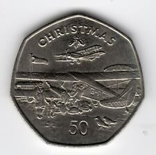 More details for 1985 50p coin iom christmas de havilland plane aa isle of man fifty pence iom229