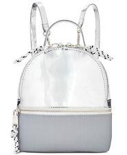 💯Steve Madden Candace Mini Backpack Crossbody Bag Shiny Silver /White /Gray $78