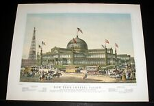 "OLD 1960'S CURRIER & IVES LITHO PRINT, ""NEW YORK CRYSTAL PALACE"", ORIGINAL 1853!"