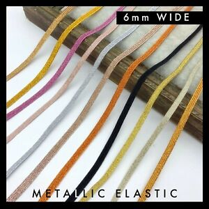 Metallic Colour Flat Braided Elastic 6mm per 5 yards gold silver copper bronze