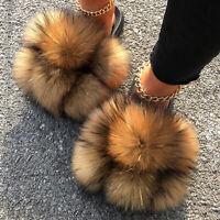 Women's Real Farm Fox Racc00n Fur Slippers Pom Pom Fur Slides Summer Sandals New
