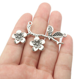 5X Antique Silver Flower Branch Connectors Pendant for Necklace Jewelry Making