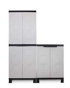 Ondis24 2x Kunststoffschrank Haushaltsschrank Terrassenschrank Prestige Set grau