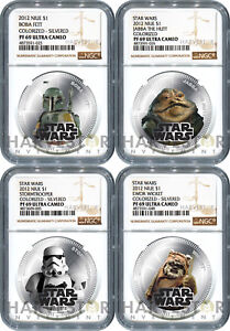 2012 STAR WARS: SILVERED 4-COIN SET - NGC PF69 ULTRA CAMEO - NIUE - TOP POP