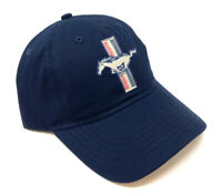 SOLID NAVY BLUE FORD MUSTANG PONY LOGO ADJUSTABLE SLOUCH HAT CAP CURVED BILL NWT