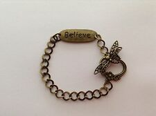 ANTIQUE BRONZE STAMPED WORD BELIEVE BRACELET DRAGONFLY TOGGLE CLASP JEWELLERY