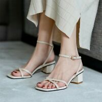 Women's Leather Sandals Ankle Strap Block Mid Heels Open Toe Buckle Casual Shoes