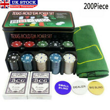 More details for professional 200 piece texas holdem poker casino game chips cards set with box