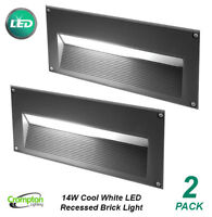 2 x 14W LED Recessed Wall Brick Lights Charcoal Grey 240V Cool White IP54