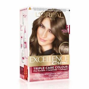 L'Oreal Paris Excellence Creme Hair Color, 5 Natural Brown (72ml+100g) FREE SHIP