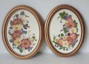 Vintage Joanna Sheen Pressed Flower Prints Prictures X 2 St Michael/M&S Cottage
