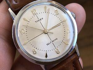 1962 Vintage Timex Viscount Seri Self Wind Mechanic Men's Watch New Crown/ Strap