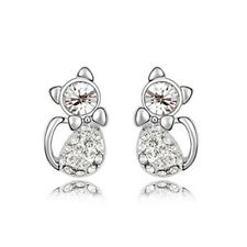 GORGEOUS 18K WHITE GOLD PLATED AND CZ AND AUSTRIAN CRYSTAL PUSSY CAT EARRINGS