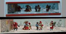 Ancienne plaque verre magic lanterne magique photo fin XIX° personnages neige