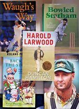 Cricket, Bulk Lot 5 Books, Captain's Diary, Harold Larwood, Waugh's Way,.. GC-VG