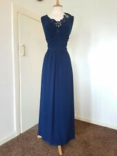 PHASE EIGHT navy Maxi dress size 12 evening long flower corsage stretch blue